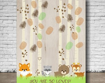 Woodland Baby Shower Thumb print Sign | Baby Shower Guest Book | Forest Animals Shower Tree Thumbprint | Baby  Woodland | Instant Download