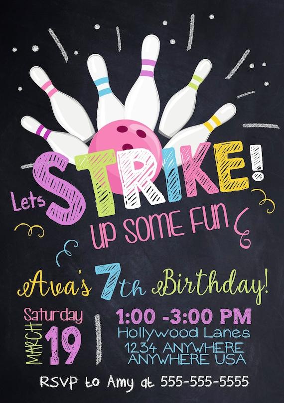 Bowling Zaproszenie Bowling Zaproszenia Urodziny Kręgle Etsy