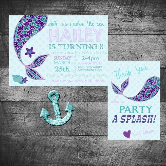 Mermaid Birthday Invitations Thank You Party