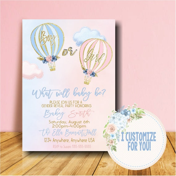 Blush Pink and Navy Gold Pink Navy Floral Hot Air Balloon Pink Or Blue Gender Reveal Invite Reveal Party He Or She Boy Or Girl