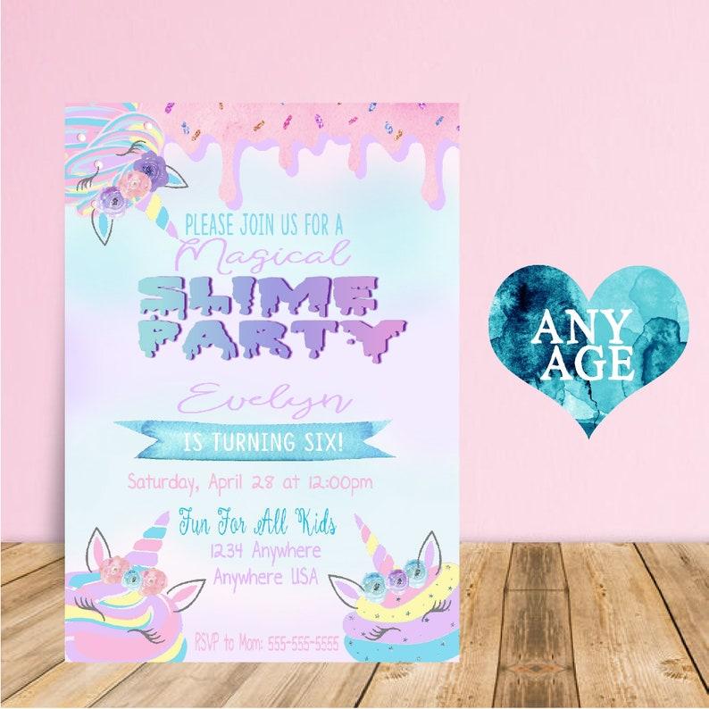 Slime Birthday Invitation Unicorn Party Invitations