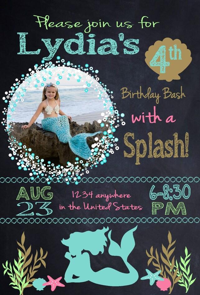 Mermaid Invitation Custom Birthday Party Printable Digital Purple Teal Glitter Under The Se
