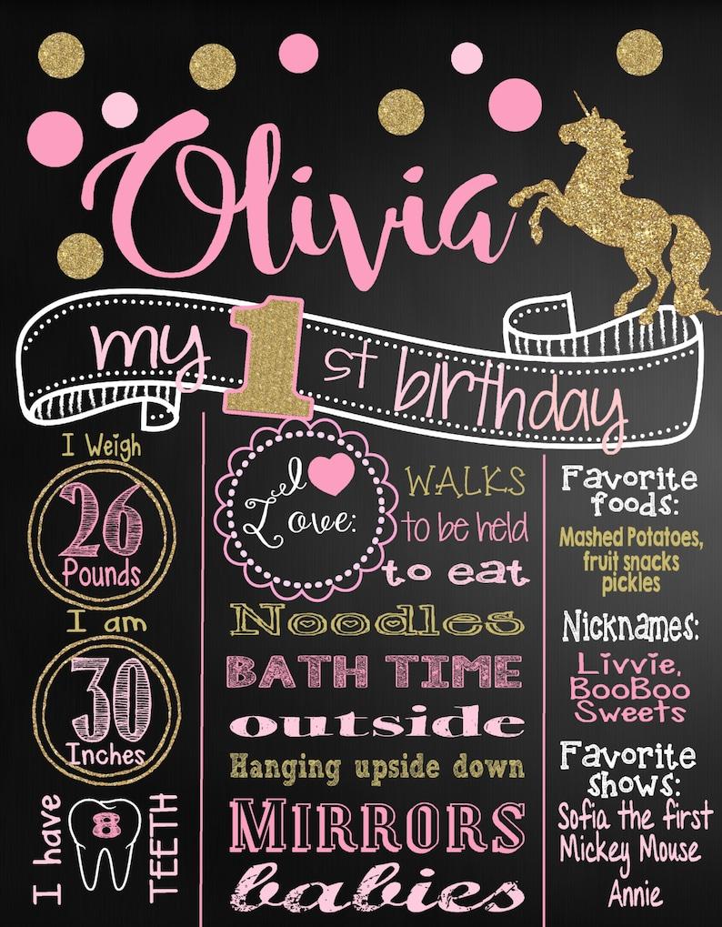 Personalized Girl 1st Birthday Board Pink and Gold Glitter Poster Chalk board Girl Polka Dots Unicorn First Birthday Chalkboard