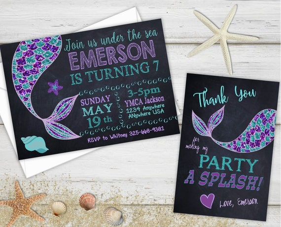 Birthday Party Invitations Mermaid Thank You Cards