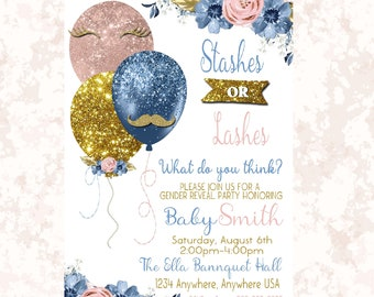 Balloon Gender Reveal  Invitation, Boy or girl, Stashes or Lashes  Baby , Invite blue or pink  printable  blue blush pink gold Glitter, 009