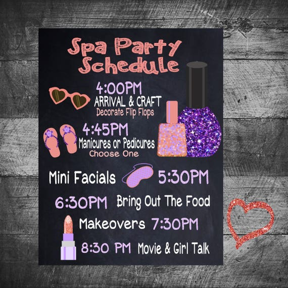 Spa Party Timeline Spa Party Schedule Slumber Party Etsy