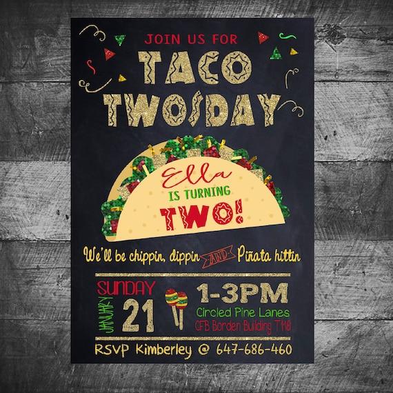 taco twosday party birthday party invitation fiesta party