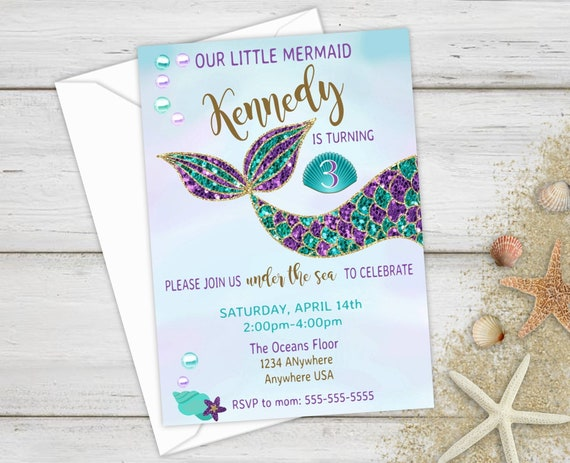 Mermaid Invite Party First Birthday Invitations Tail Under The Sea Glitter