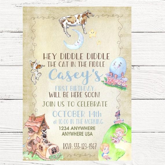 Nursery Rhymes Birthday Or Shower Invitation Rustic Baby Shower Or