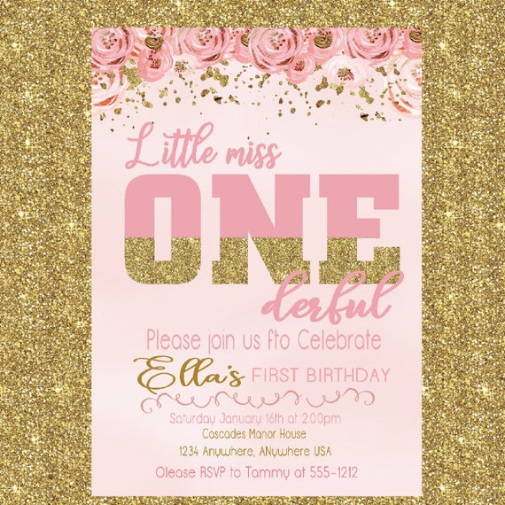 little miss onederful birthday invitation birthday etsy