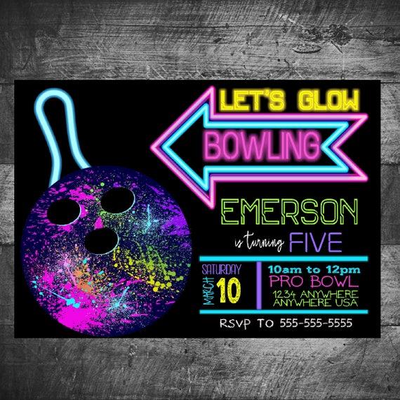 neon bowling birthday invitation glow bowling invitation neon