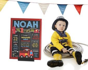 Fire Truck First Birthday Chalkboard, FIrefighter chalk board, Birthday Sign, First birthday Stats poster, Fire Marshal Digital Photo prop