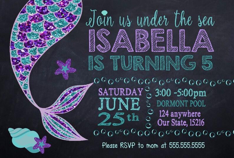 Custom Mermaid Birthday Party Invitation Printable Digital