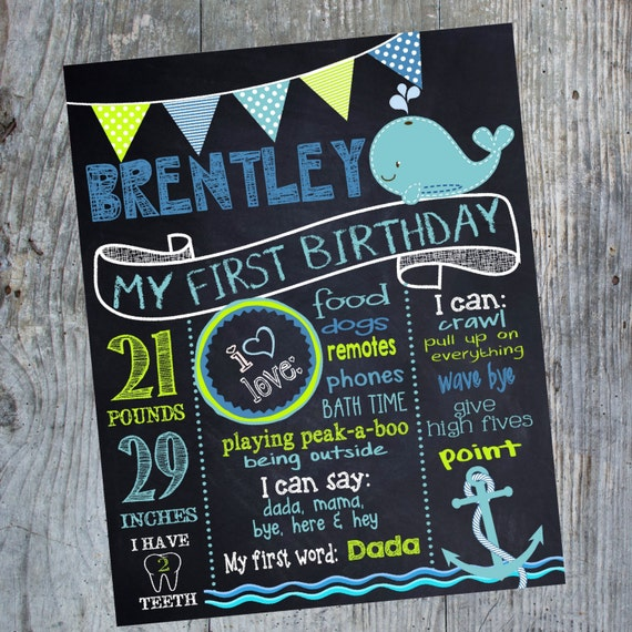 nautical birthday sign whale chalkboard under the sea first