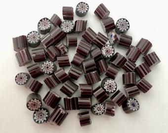 Millefiori Murrano - Opaque Black Daisy/Star (50 pieces)