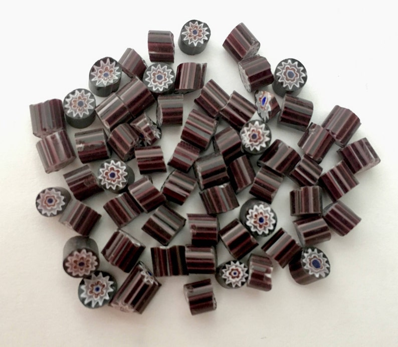 Opaque Black DaisyStar 50 pieces Millefiori Murrano