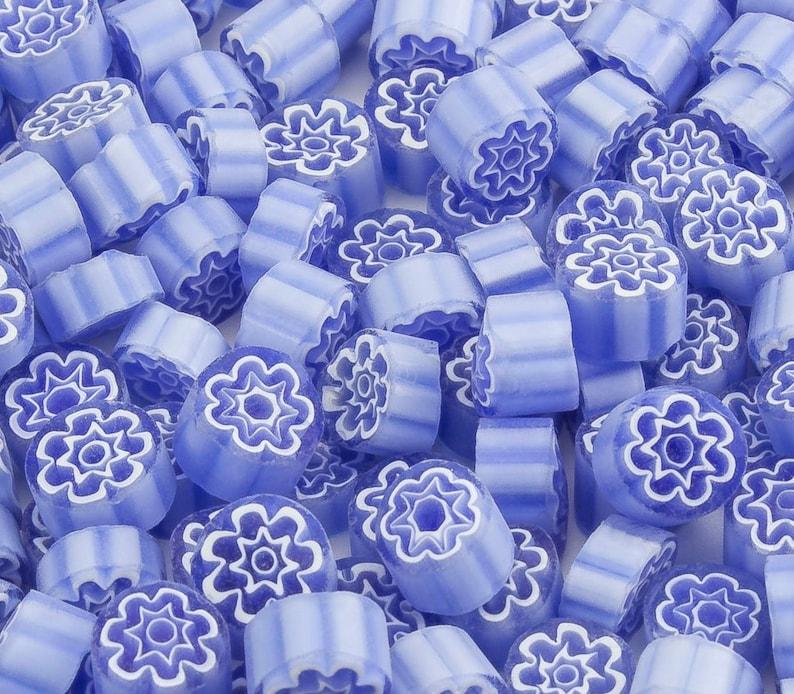 Millefiori Lavender transparent 20 pieces