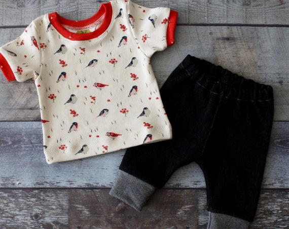 Baby Girl Coming Home Outfit, Birds, Jeans, Ring Neck Tee, Baby Girl Gift, Baby Shower Gift, Newborn Girl Clothes, Outfit, Organic,