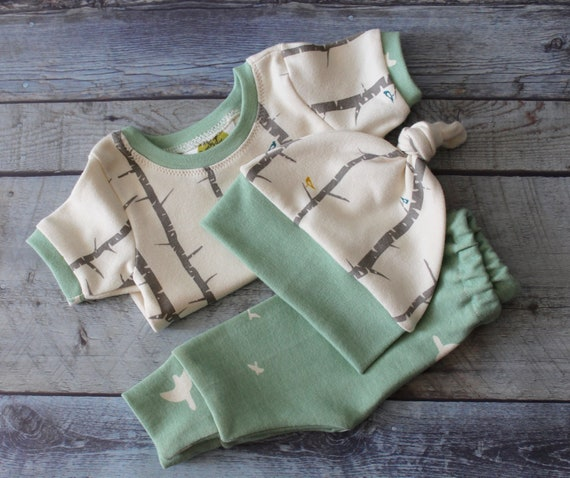Gender Neutral Coming Home Outfit, Seafoam, Woodland, Gender Surprise Outfit, unisex, Layette, Hospital Outfit, Baby Shower Gift Newborn Set