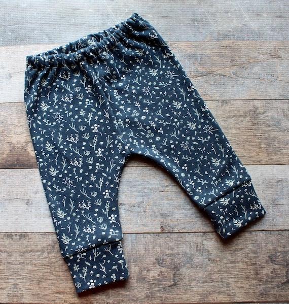 Organic Baby Girl leggings, Navy Floral, Baby Leggings, Baby Girl Clothes, Newborn Girl, Toddler Leggings, Girl's leggings, Peach,