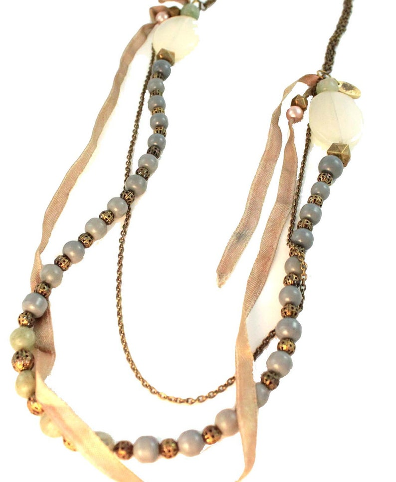 Vintage style beaded long necklace