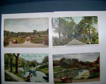 CHICAGO PARK SCENES  --Vintage 1910-1912 Postcards -- Lot of 4-
