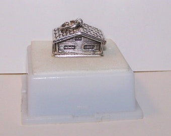 Vintage Sterling Silver--Full 3D SWISS CHALET / CABIN  Charm-- Mechanical --Opens