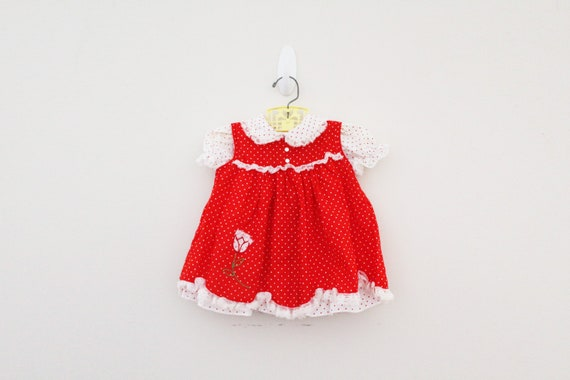 vintage 80s 3 Piece Little Girls Dress Red and Whi