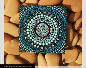 Original Painting, Aboriginal Art, Water Art, acrylic painting on canvas board, blue decor, 10cm x 10cm