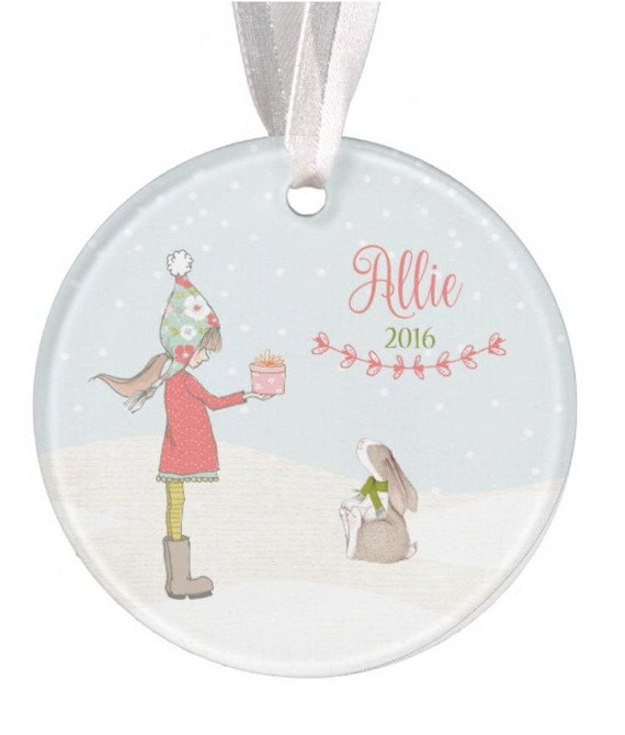 Baptism Ornament Christmas Ornament By Ryellecreations On Etsy: Girls Personalized Ornament Ceramic Ornament Bunny