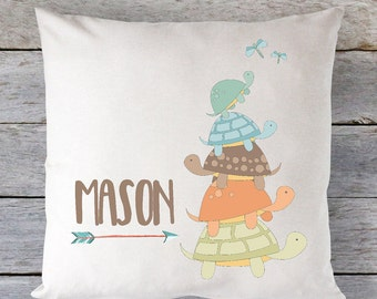 Baby Pillow Cover Turtle Pillow Baby Gift Boys Baby Gift Turtle Pillow Cover Boys Pillow Personalized Pillow Case RyElle Pillow