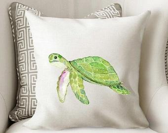 Sea Turtle Pillow Beach Decor Turtle Pillow Throw Pillow Beach Pillow Personalized Pillow Beach House Pillow RyElle Watercolor Turtle