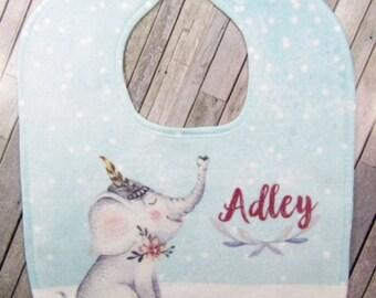 Baby Bib Personalized Bib Girls Bib Personalized Baby Bib Personalized Baby Gift Elephant Baby Bib Elephant Bib RyElle, Shower Gift