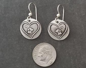 Lab Head / Rottweiler Head in heart earrings - Dog Lover Jewelry