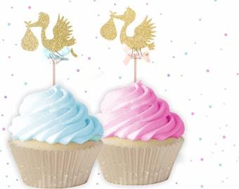 Stork Cupcake Toppers - Stork cupcake toppers, Baby Shower cupcake toppers, Gender reveal cupcake toppers, Baby Shower Decor