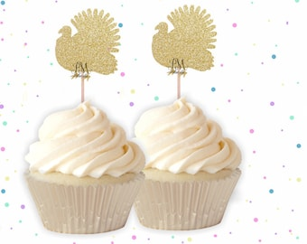 Turkey Cupcake Toppers - fall birthday, turkey cupcake topper, thanksgiving cupcake toppers, thanksgiving cake topper