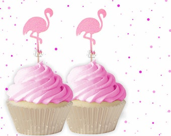 Neon Glitter Flamingo Cupcake Toppers - Summer Cupcake Toppers, Summer Birthday, Tropical Party, Flamingo Party Decor