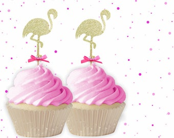 Flamingo Cupcake Toppers With Fuchsia Bows - Summer Cupcake Toppers, Summer Birthday, Tropical Party, Flamingo Party Decor