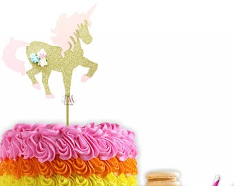 Pink & Gold Floral Glitter Unicorn Cake Topper- Unicorn Cake Topper, First Birthday Cake Toppers, Fairy Tale Party, Unicorn Party