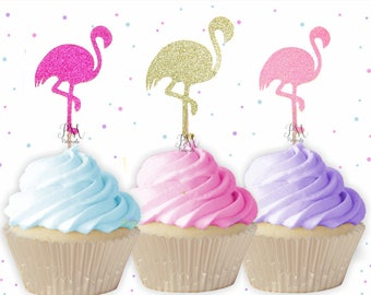 Glitter Flamingo Cupcake Toppers - Summer Cupcake Toppers, Summer Birthday, Tropical Party, Flamingo Party Decor, Rainbow Flamingo