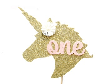 Glitter Gold Floral Unicorn ONE Cake Topper- Unicorn Cake Topper, First Birthday Cake Toppers, Fairy Tale Party, Unicorn Party