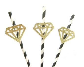 Black & Gold Glitter Diamond Straws - birthday straws, diamond straws, engagement straws, wedding straws, bachelorette