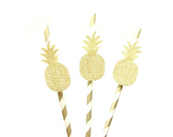 Gold Glitter Pineapple Pineapple Paper Straws - Pineapple straws, tropical straws, wedding, engagement, birthday, pineapple party