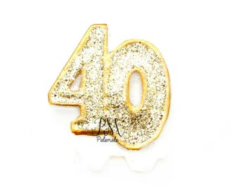 Gold Glitter Number 40 Birthday Candle - birthday, glitter birthday candle, 40th birthday candle, custom number candle