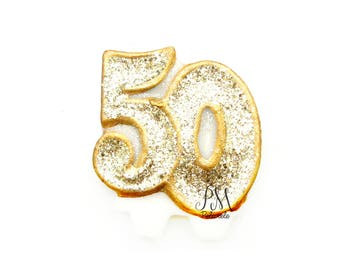 Gold Glitter Number 50 Birthday Candle - birthday, glitter birthday candle, 50th birthday candle, custom number candle