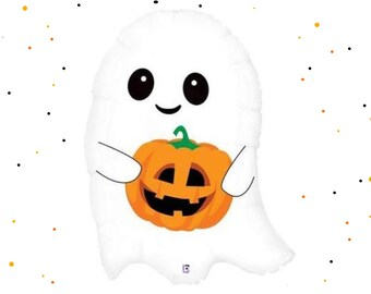 """26"""" Ghost Foil Balloon - Giant Ghost Balloon, Cute Ghost Balloon, Halloween Balloon, Halloween Party Decor, Halloween Decorations"""