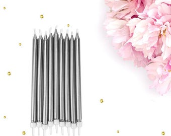 Tall Silver Birthday Candles - silverbirthday candle, girls birthday candle, silver party candle, silver cake candles, metallic candles