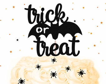 Glitter Trick or Treat Halloween Cake Topper - Glitter Bat Cake Topper, Halloween Cake Topper, Halloween Party, Halloween Decorations