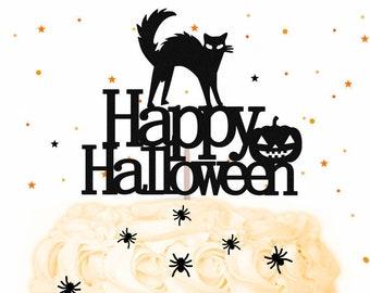 Happy Halloween Cake Topper - Glitter Cake Topper, Halloween Cake Topper, Halloween Party, Halloween Decorations, Halloween Decor