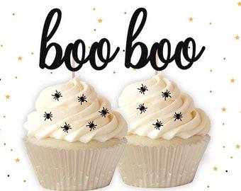 Black Glitter BOO Cupcake Toppers - Glitter Cupcake Topper, Halloween Cupcake Toppers, Halloween Party, Halloween Decorations, Little BOO